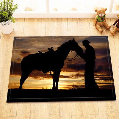 Western Texas Cowboy Sunset Non-Slip Bathroom Home Decor Door Mat Rug Carpet Western Non-slip