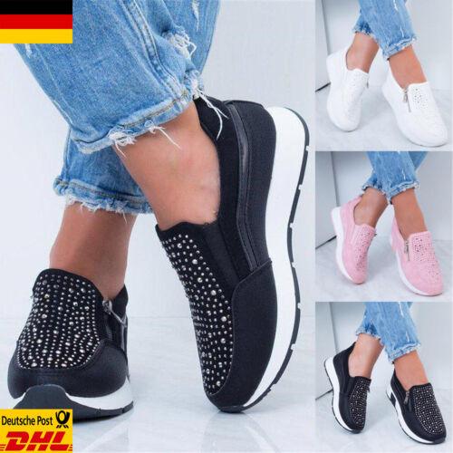 DE Damen Zip Sneakers Flache Turnschuhe Strass Freizeitschuhe Loafer Sportschuhe
