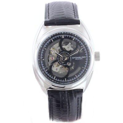 Stuhrling Automatic Men's Skeleton Watch Silver Case Black Dial GP12389 - New
