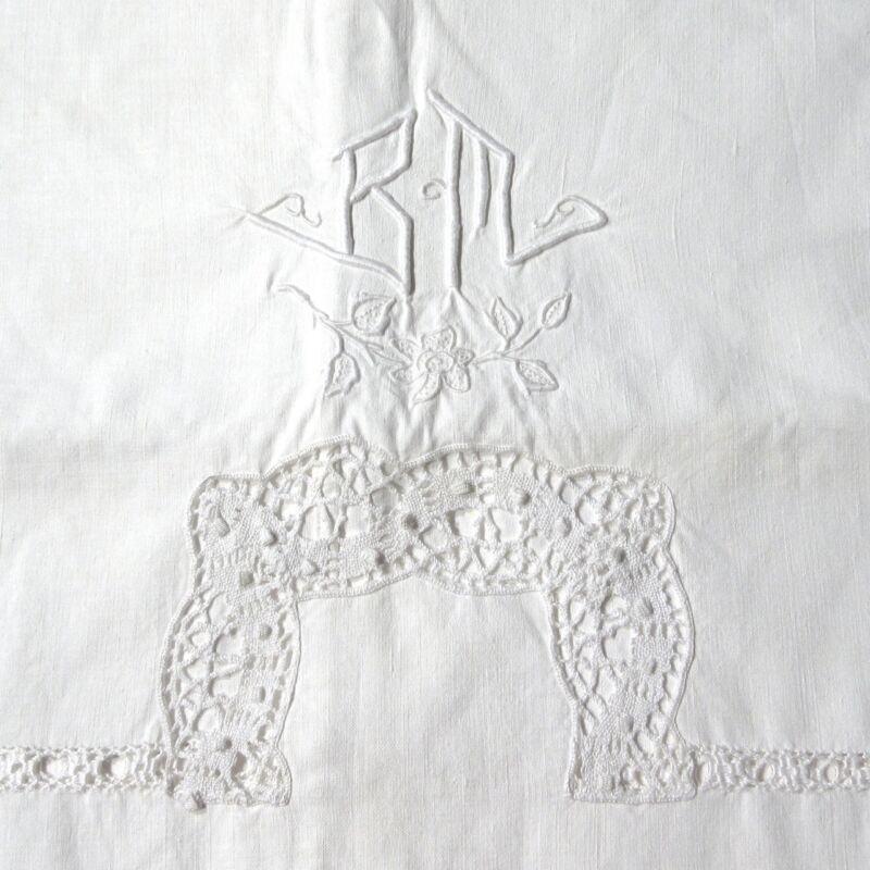 "VintageFrenchBolster Pillowcase Sham,Monogrammed""BM"", EmbroideredLadderwork"