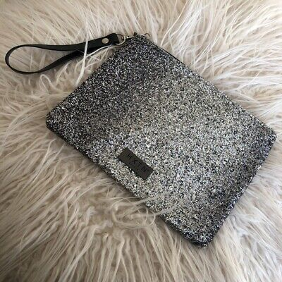 Htxn Clutch Bag Grey With Glitter Accents