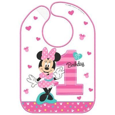 Minnie Mouse 1st Birthday Bib (Minnie Mouse Fun To Be One 1 Vinyl Bib 1st Birthday)