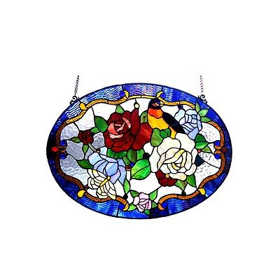 Bird Roses Floral Tiffany Style Stained Glass Window Panel LAST ONE THIS PRICE