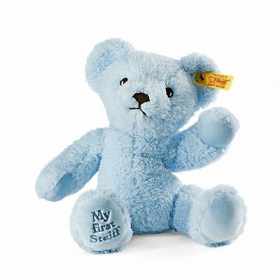 """Steiff MY FIRST STEIFF Teddy Bear EAN 664724 - 9.4"""" Cuddly Soft Blue Plush Toy"""