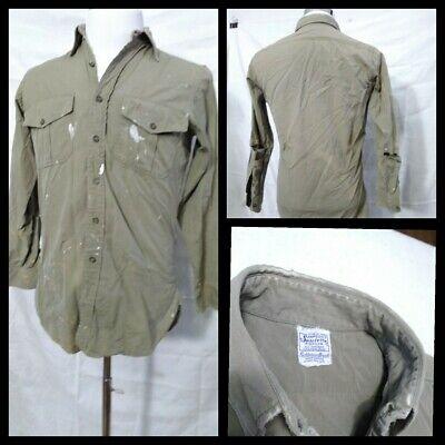 1940s Men's Shirts, Sweaters, Vests Military Shirt Mens Medium Vintage 1940's Fechheimer Bros.Gussets Inv#Z2366 $29.99 AT vintagedancer.com