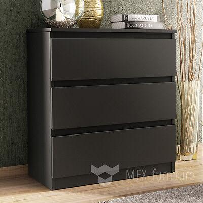 Modern Black Chest of Drawers 3 Drawer Bedroom Furniture Cabinet Sideboard