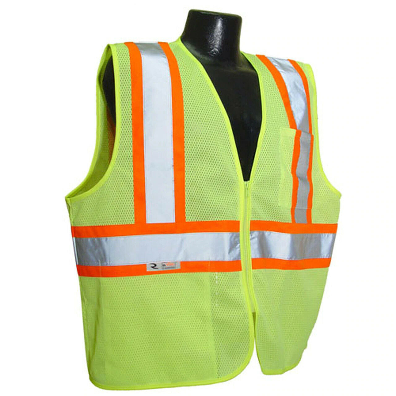 Radians SV22-2ZGM Lime Green Two-Tone Economy Class 2 Safety Vest W/Zipper Business & Industrial