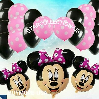 25 HOT Pink Bowtie Polka Dots Minnie Mouse Balloon balloons girl baby shower