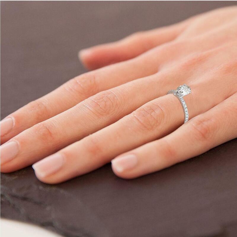 Real Diamond Engagement Ring Hidden Halo D/vs1 1.25 Ct Pear 14k White Gold