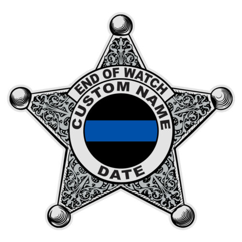 Sheriff Custom Memorial Reflective Badge Police Law Enforcement Decal Sticker