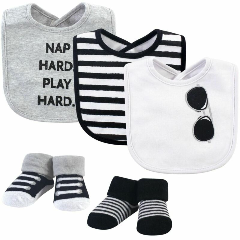 Little Treasure Boy Bib and Sock 5-Piece Set, Nap Hard