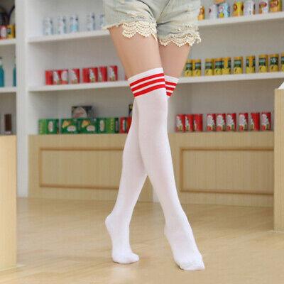 1 Pairs Knee High Socks Stockings Cheerleader Stripes Ladies Overknees College
