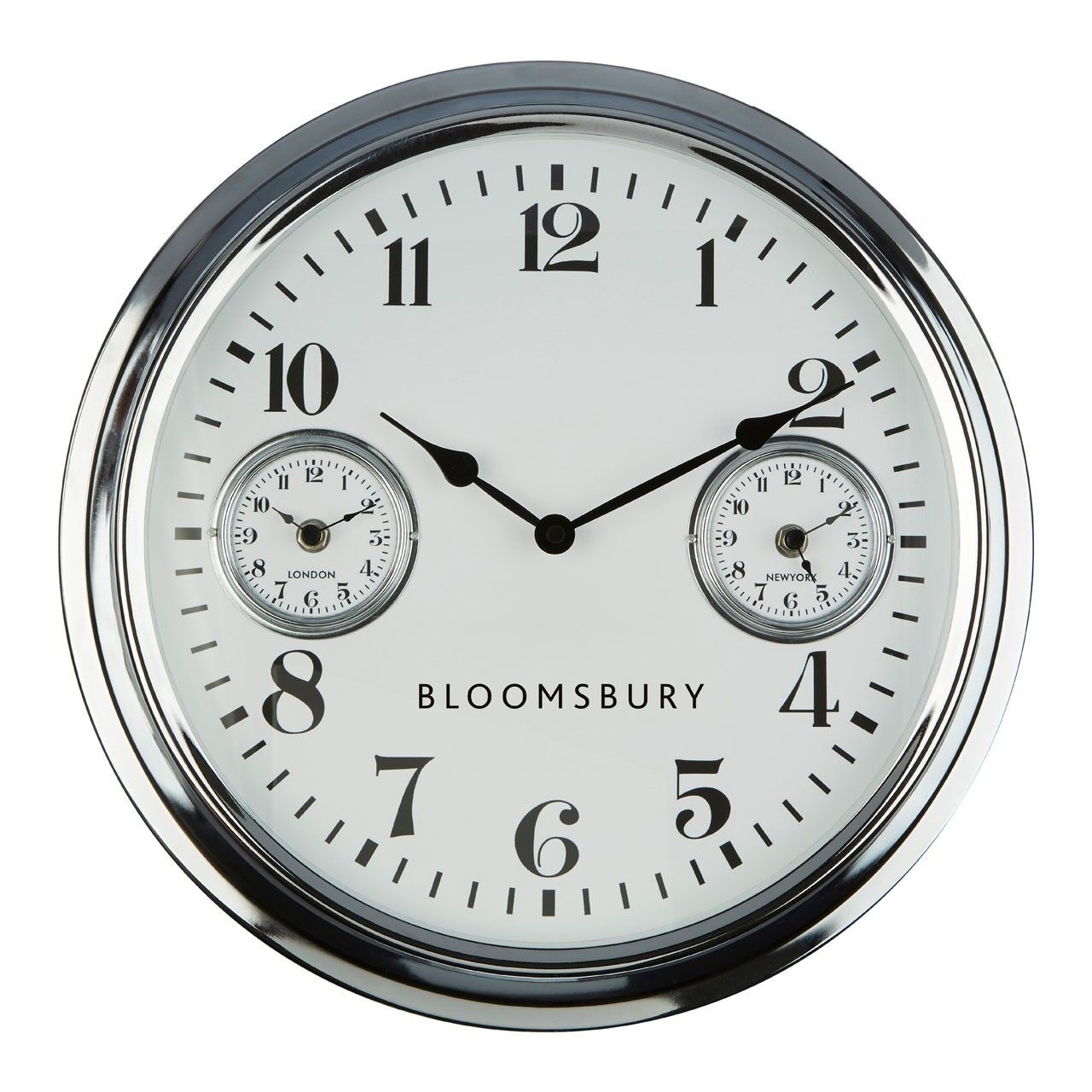 Wall Clock Chrome Finish 2 Smaller Clocks Within The Large Clock
