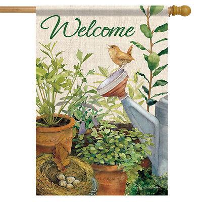 Little Wren Spring Welcome House Flag Bird Herbs Watering Can Banner  28