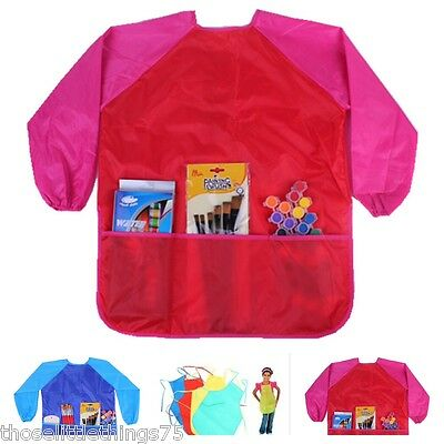 Childs/kids craft apron for painting, cooking. Smock, waterproof with pockets Cooking Aprons For Kids