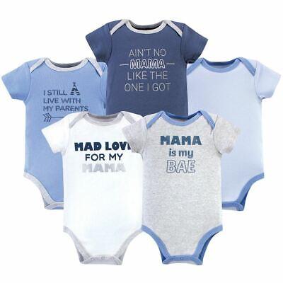 Luvable Friends Boy Cotton Bodysuits, Mama, 5-Pack