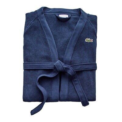 Lacoste Classic Pique Bath Robe-Black Iris NAVY 100% Cotton-Terry Cloth One Size