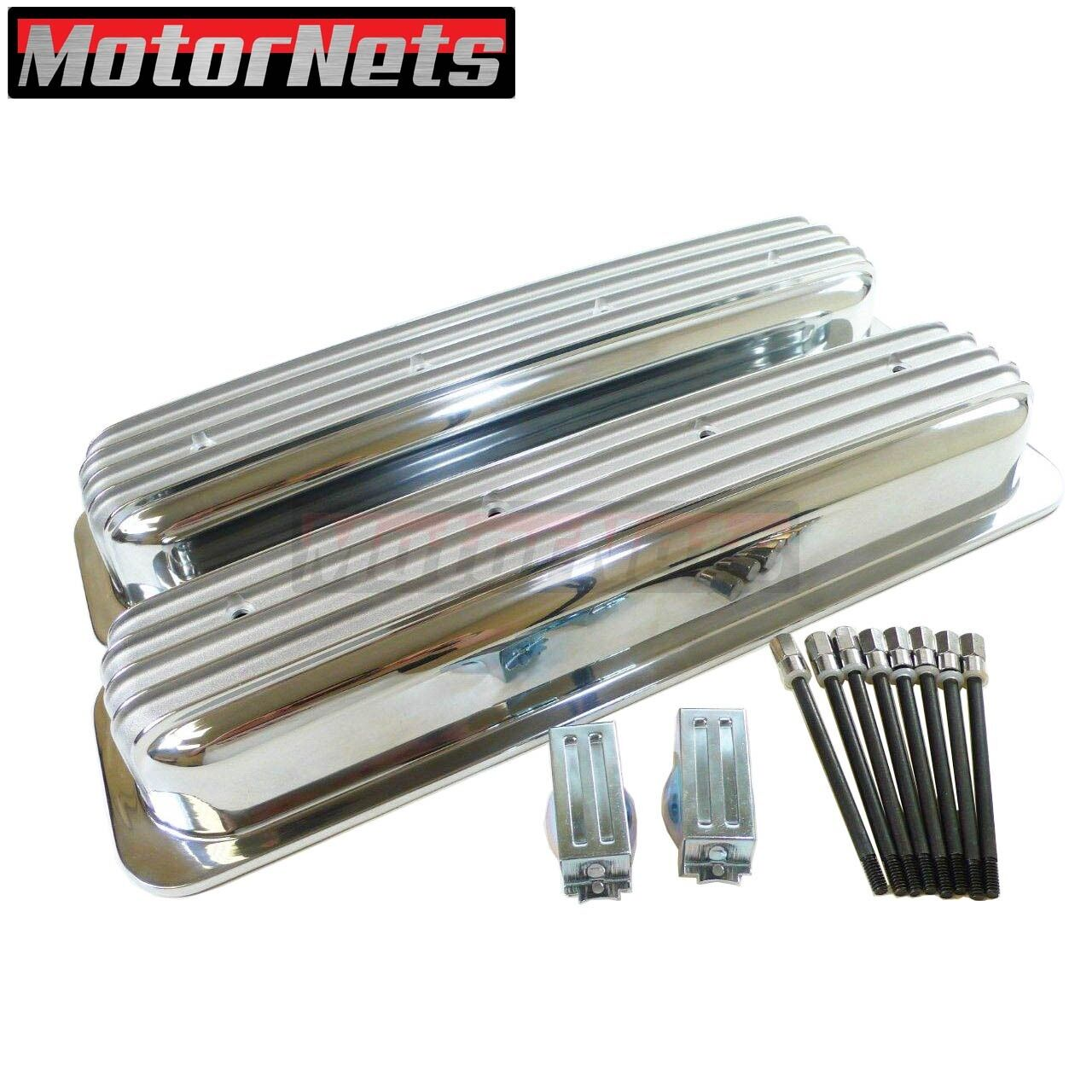 Finned Polished Aluminum Short Style Valve Covers Fits SB Chevy 350 Retro