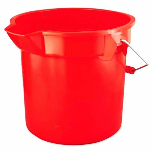 14 qt quart Heavy Duty RED PLASTIC BUCKET rOund Pail w/ pour spout RUBBERMAID