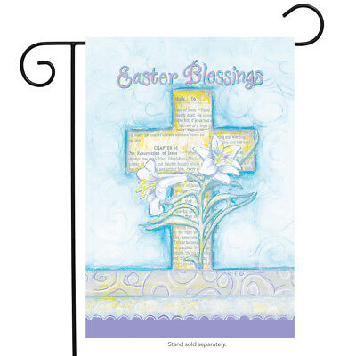 Easter Blessings Garden Flag Cross & Lilies Religious 12.5""