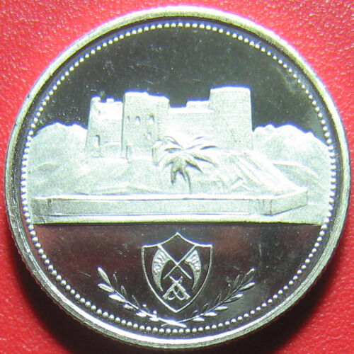 1969 FUJAIRAH 1 RIYAL SILVER PROOF DESERT FORT VERY RARE UAE COIN! 3 grams 18mm