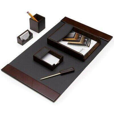 Bey Berk 6 Piece Walnut Wood Brown Leather Desk Set