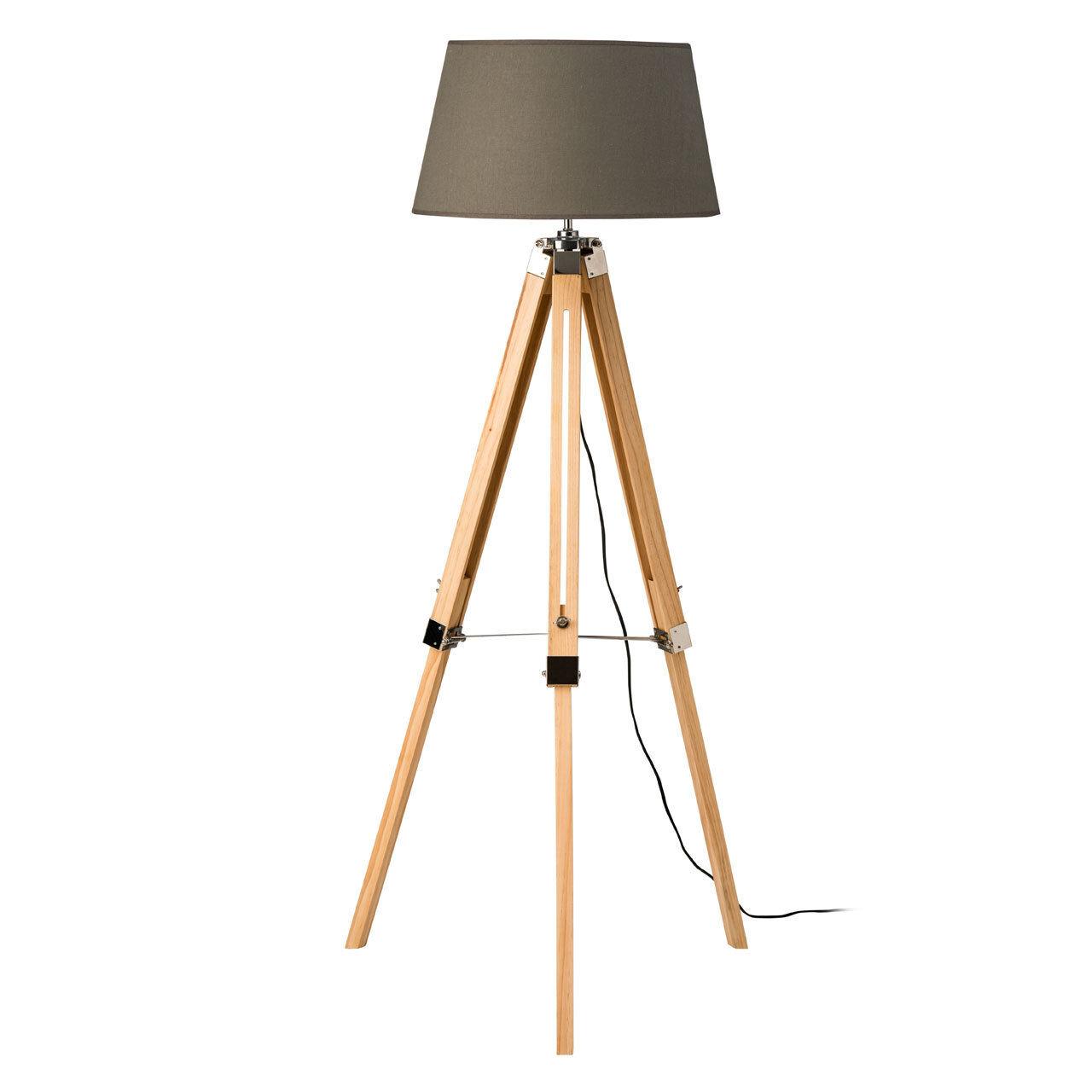 Tripod Floor Lamp Grey Shade Light Wood