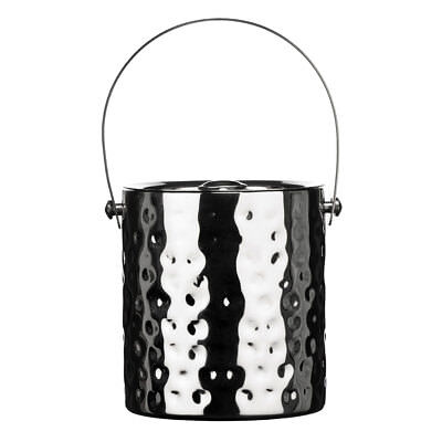 Premier Housewares Ice Bucket With Lid, Hammered Stainless Steel 0