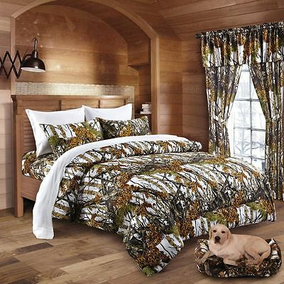 KING SIZE WHITE!! CAMO BEDDING 6 PC CURTAINS COMFORTER ONLY CAMOUFLAGE SNOW  ()