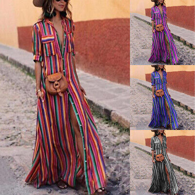 Boho Women Summer Holiday Striped Maxi Dress V-neck Long Shirt Dress Plus Size - Striped Maxi