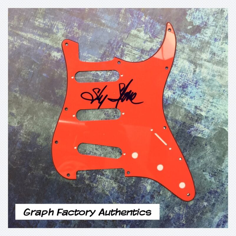 GFA And the Family Stone * SLY STONE * Signed Electric Strat Pickguard AD1 COA