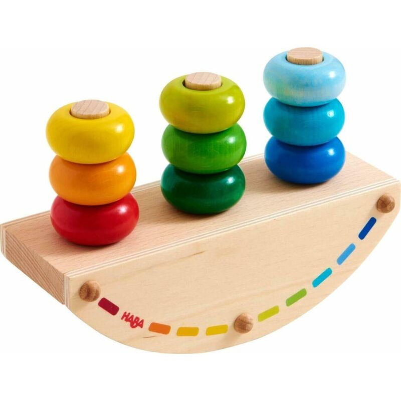 HABA Pegging Game Rainbow Rocker - Wooden Stacking & Dexterity Toy