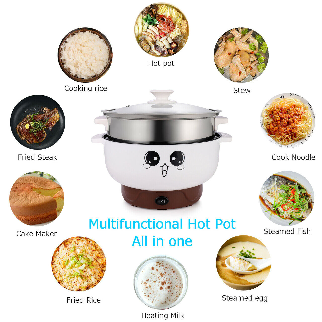Multi-function Electric Skillet Noodle Rice Cooker Cooking S