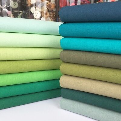 Rainbow Craft 100% cotton fabric blenders per 1/2 metre or 15 piece bundle green