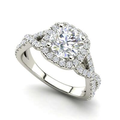Infinity Halo 2.65 Carat VS1/F Round Cut Diamond Engagement Ring White Gold