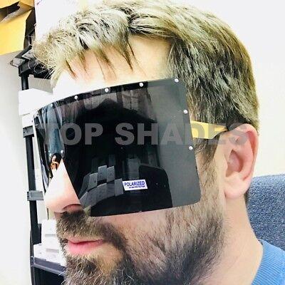 Oversize Visor Shield Style Huge Big Square Men Women Polarized Large (Womens Visor Sunglasses)