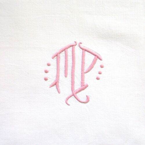 """VintageFrench Sheet, Monogrammed""""M.P."""",114 x 78 ¾ inches"""