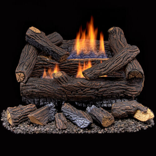 Duluth Forge Ventless Propane Gas Log Set 18 in. Stacked Red Oak, Manual Control