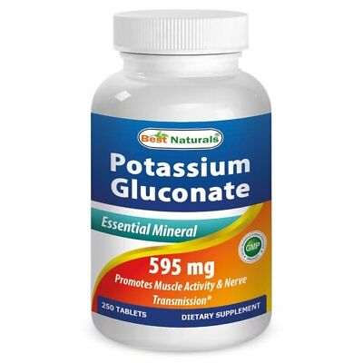 Best Naturals, Potassium Gluconate 595 mg 250 Tablets *Essential Mineral*