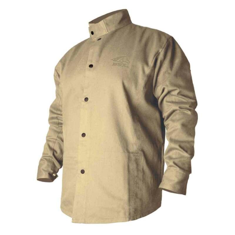 Black Stallion BXTN9C BSX Flame-Resistant Cotton Welding Jacket Khaki Large