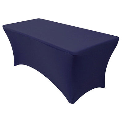 Spandex Fitted 6 Ft Rectangular Table Cover Navy Blue,