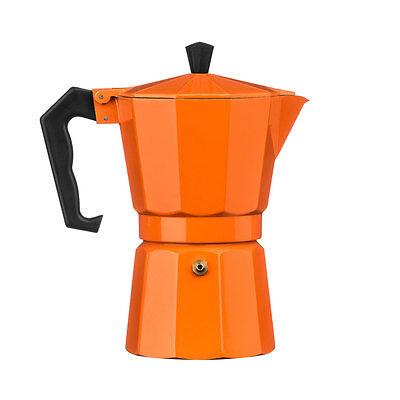 Orange 6 Cup Espresso Maker Percolator Stove Top Aluminium Moka Coffee Pot Jug