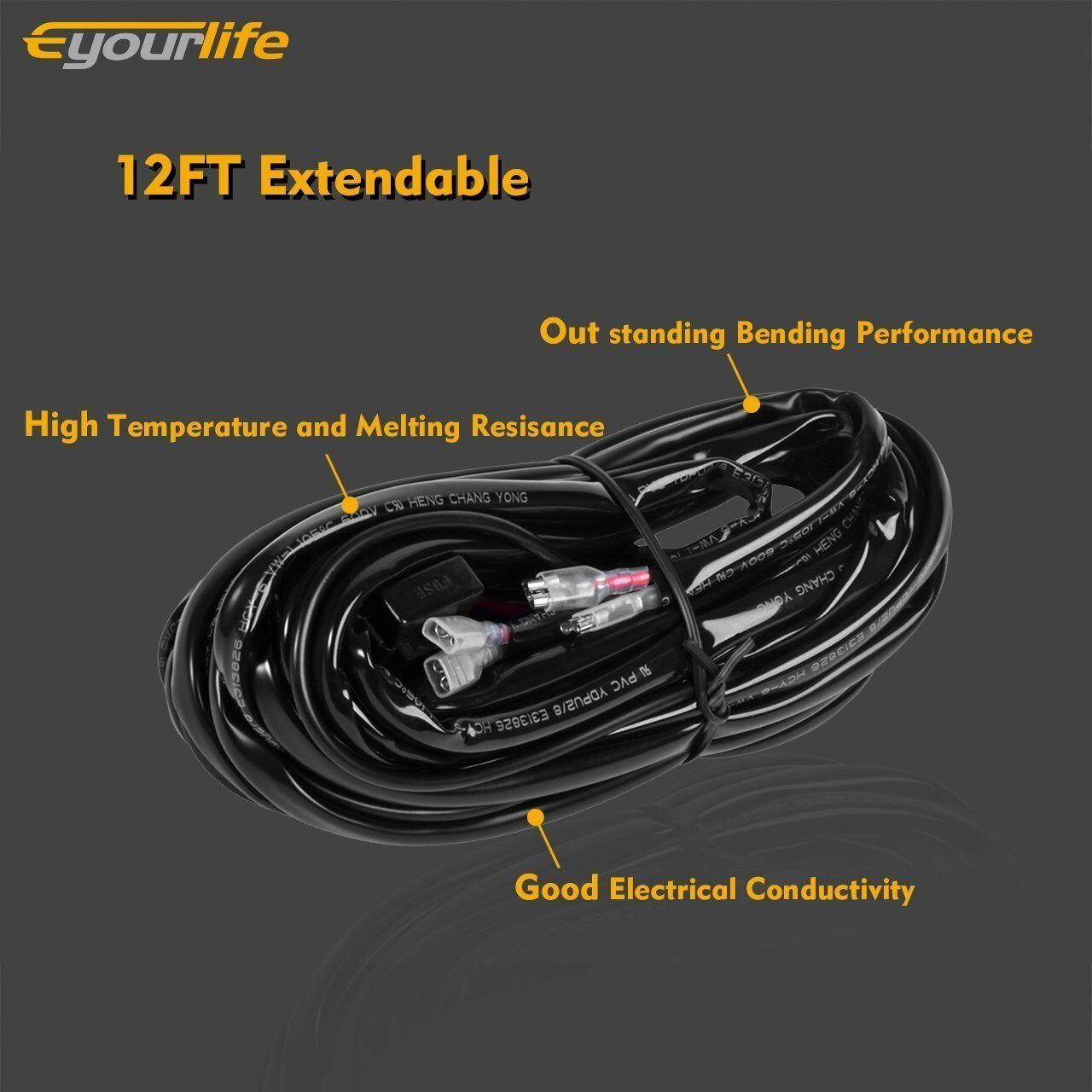 Details about 300W 12V 40A 2.5M Wiring Harness Fresh Fit LED Light on