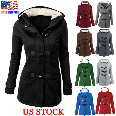 Women Trench Parka Hooded Coat Jacket Outwear Winter Warm Long Overcoat Hoodies