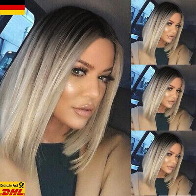 DE Damen Mode Glattes Wig Cosplay Bob Blond - Blonde Mod Perücke