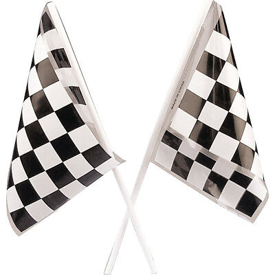 Lot of 48 Plastic Checkered Mini Racing Flags Race Party Favor