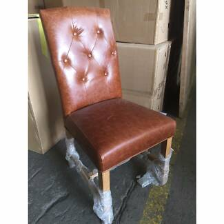 Tiffany French Provincial Tan Genuine Leather Dining Chair