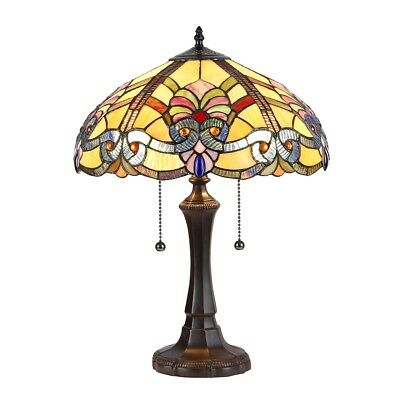 Tiffany Style Baroque Fan Design 2 Bulb Stained Glass Table Desk 22