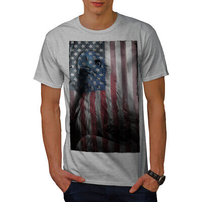 Wellcoda American Eagle Glory Mens T-shirt, US Flag Graphic Design Printed Tee