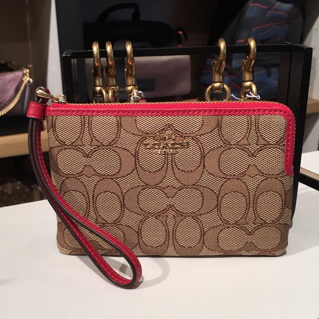 New Coach F58032 F58035 Corner Zip Wristlet With Gift Box New With Tags Khaki True Red Jacquard